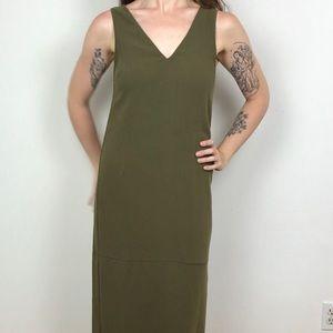 Olive Green Leith V Neck Maxi Dress